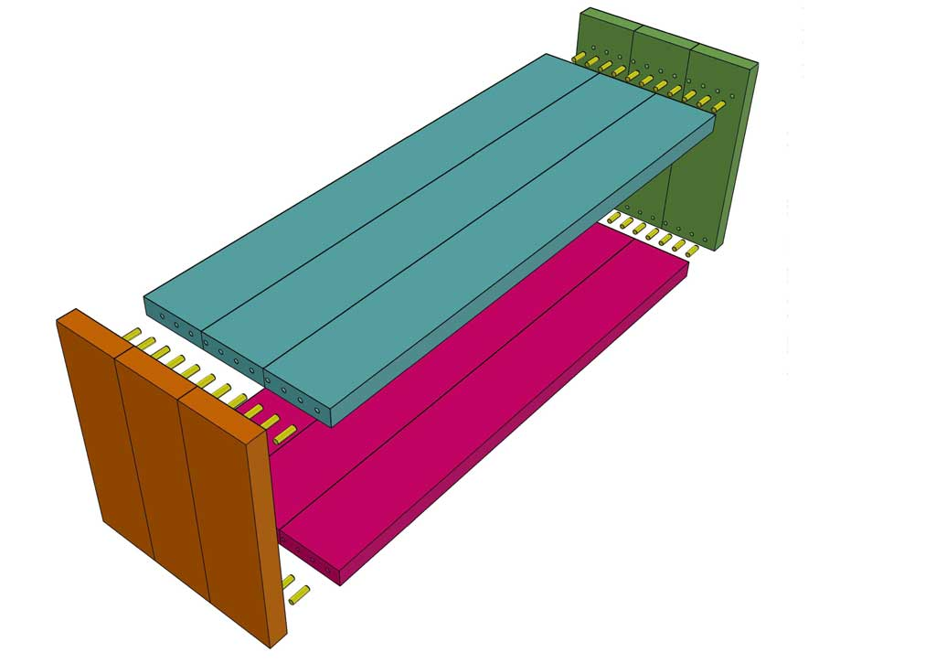 connecting DIY Bench with Fabric Seat together